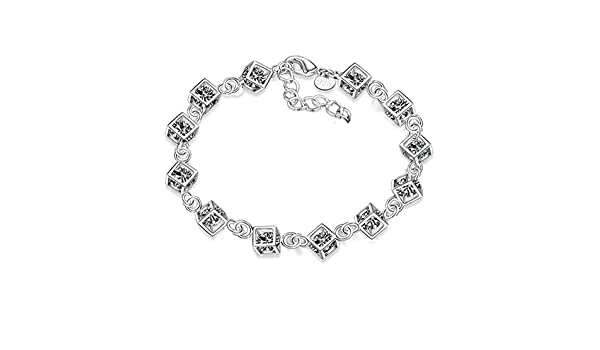 scrox pulsera Fashion Exquisite Shiny mano cadena plata ...