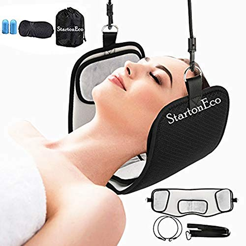 STARTONECO Neck Hammock Relaxer & Stretcher for The Head - Pain Reliever for Stiff Shoulder & Neck, Breathable Head Traction Support, Relief Muscle Tension,Free Eye Mask +Earplugs (B)