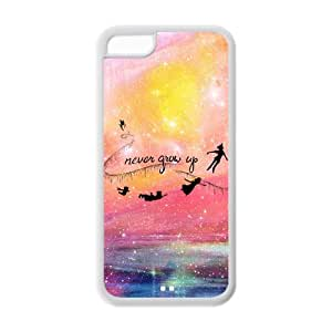 Custom iPhone 5c Case,Peter Pan Design Fashion Pattern Hard Back Cover Snap on Case for iPhone 5C (Black/white)