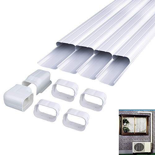 Kit Split - LBG Products Decorative PVC AC Line Set Cover Tubing Kit for Central Air Conditioner, Heat Pump, Ductless Mini Split (4in 14Ft)
