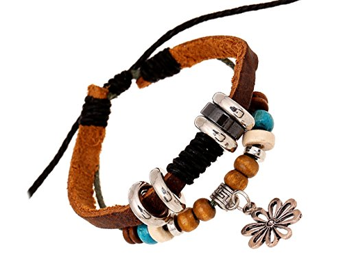 [Konalla Women's Hollow Flower Pendant Leather Beads Bracelet, Adjustable] (Homemade Kids Nurse Costumes)
