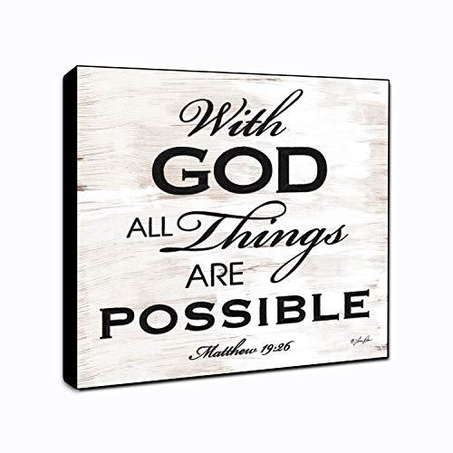(LACOFFIO with God Matthew 19:26 Wall Art Spiritual Décor Plaque 6