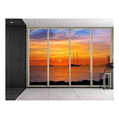 Made With Love, Fascinating Piece, Sunset Over The Ocean as Boats Sail Near The Rocks Viewed from Sliding Door Creative Wall Mural Peel and Stick Wallpaper