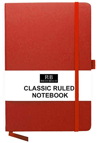 RICCO BELLO A5 Classic College Ruled Banded Notebook, Pen Loop, 192 pages, 5.7 x 8.4 in. (Red)