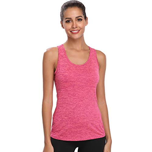 Dri Fit Tank Tops for Women Running Vests Summer Gym Workout Slimming Racerback Sleeveless Shirts (Rose Red, M)