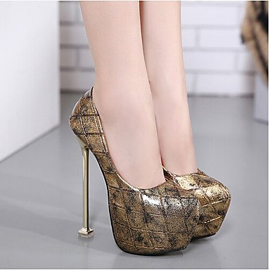 us6 uk4 Slingback Spring cn36 Black PU Women's 5in LvYuan Heels black over Slingback Casual ggx amp; Gold eu36 fppq1