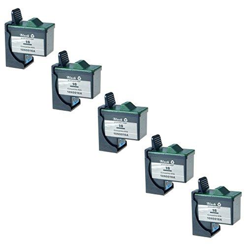 AMTONER Remanufactured for 10N0202 Ink #16 Z13 Z23 Z25 Z33 Z35 Z515 Z605 Z611 Z616 Z645 Z75 X1150 X1185 X1270 Black Ink Combo (Includes 10N0016) (410 Yield) 5 Pack