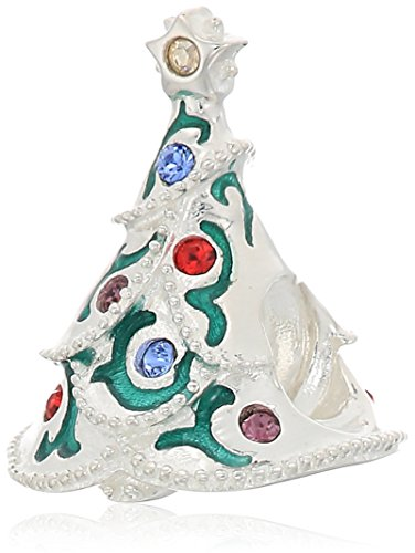 chamilia brocade tree - multi color swarovski crystal and green enamel charm ()