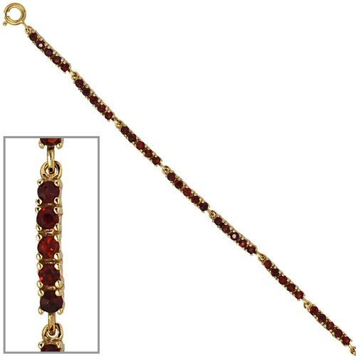 Bracelet Or jaune 375/1000avec Grenat Rouge foncé 18cm