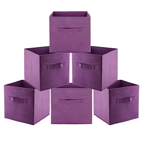 Cloth Storage Bins Cubes Boxes Fabric Baskets Containers,Collapsible Closet Shelf Nursery Drawer Organizer for Clothes, Home, Office, Bedroom with Dual Strong Handles, Set of 6 Purple Fabric Folding Bin