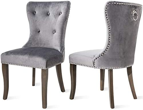 COZYWELL Dining Chair Set of 2, Upholstered Parson Chair Accent Chair Button Tufted Armless Chair with Nailhead Trim and Back Ring Pull Velvet Grey