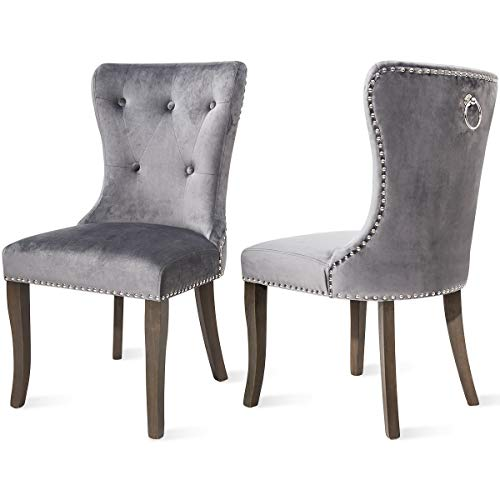 Chair Upholstered Parson Classic (COZYWELL Dining Chair Set of 2, Upholstered Parson Chair Accent Chair Button Tufted Armless Chair with Nailhead Trim and Back Ring Pull, Velvet White (Velvet Grey))