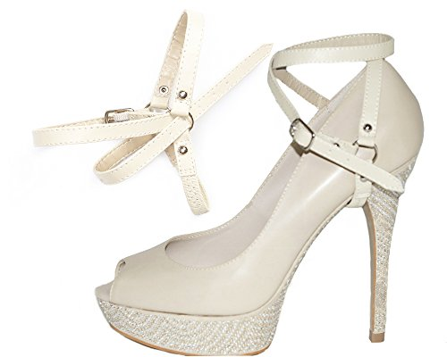 Detachable Shoe Straps - to hold loose high heeled shoes Double Beige