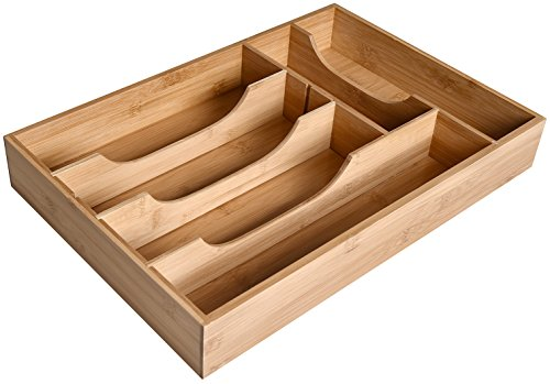 - WELLAND 6-Slot Bamboo Drawer Organizer, 17.75'' x 12'' x 2.5'' Large Size Cutlery Tray with Dividers