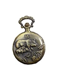 Antique Vintage Pocket Watches with Brass Chain Zodiac Pig Quartz Fob Watch
