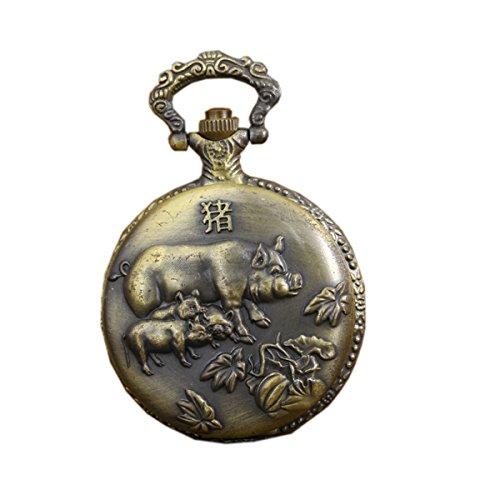 Antique Vintage Pocket Watches with Brass Chain Zodiac Pig Quartz Fob Watch by autulet