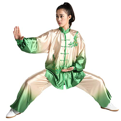 ZHL&M Tai Chi Uniform Women's Shaolin Martial Arts Clothing Gradient Kung Fu Clothing Wushu Suit for Tai Chi Arthritis Exercise,Ricegreen,M