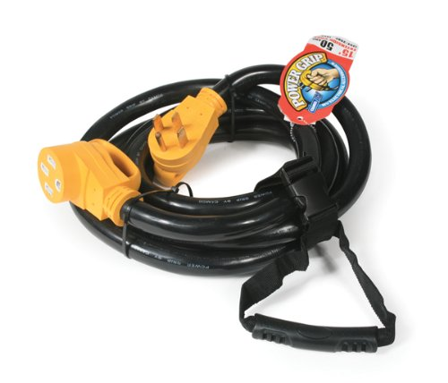 Camco 50 Amp RV Extension Cord with PowerGrip Handle, 6/8-Gauge, Includes Convenient Carrying Strap - 15ft (Nema Cord)
