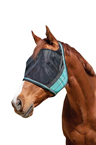 Kensington UViator Protective Fly Mask - Newest UV Solar Screen Protection with a 90% UV Rating - Double Locking CatchMask Fasteners - Non Heat Transferring Fabric (Black Ice, Medium)