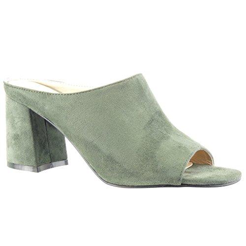 Angkorly Damen Schuhe Mule Sandalen Blockabsatz High Heel 8.5 cm Grüne
