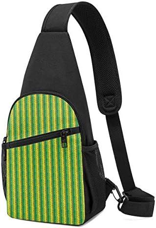 緑の縞 斜め掛け ボディ肩掛け ショルダーバッグ ワンショルダーバッグ メンズ 多機能レジャーバックパック 軽量 大容量