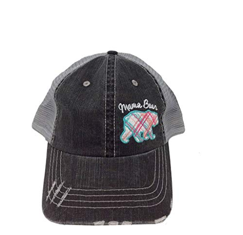 - Katydid Mama Bear Plaid Pastel Trucker Hat-Pink
