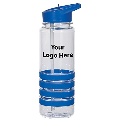 24 Oz. Banded Gripper Bottle With Straw - 48 Quantity - $5.25 Each - PROMOTIONAL PRODUCT / BULK / BRANDED with YOUR LOGO / (Identity Stainless Water Bottle)