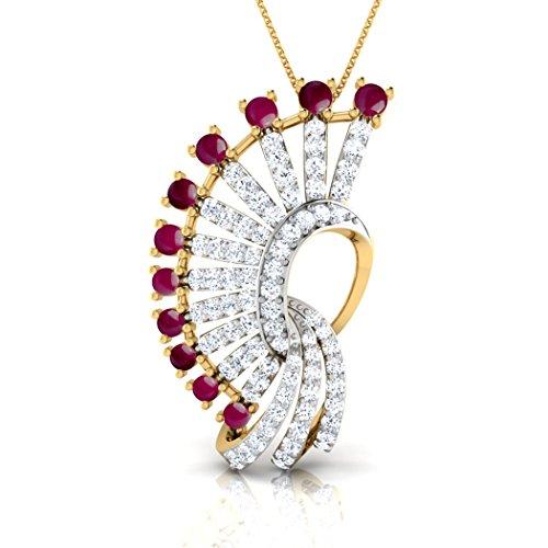 18K Or Blanc 0.87CT TW Round-cut-diamond (IJ | SI) et rubis Cabuchon Pendentif