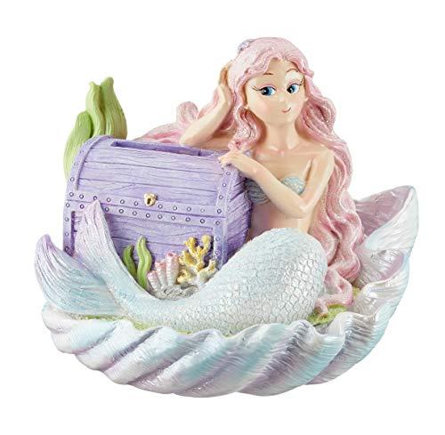 (Cepewa Resin Mermaid Treasure Chest Coin Piggy Bank Room Decor, 5.51