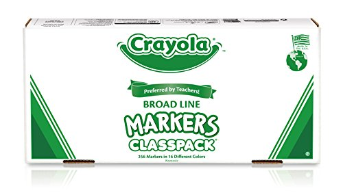Large Product Image of Crayola Broad Line Markers Bulk, 16 Bold Colors, Great for Classroom, Educational, All-Purpose Art Tools, 256 Count