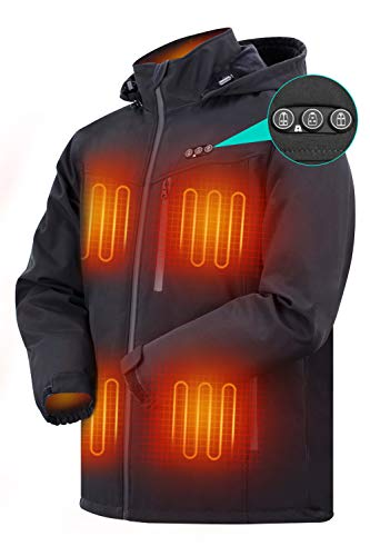 ARRIS Heated Jacket for Men, Electric Heating Warm Coat 7.4V Battery/8 Heating Areas/Phone Charging for Winter Use