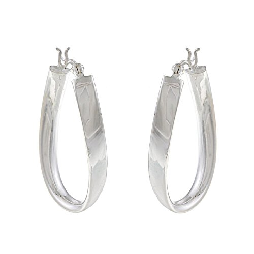 Sterling Silver 25mm x 35mm Twisted Hoop Earrings
