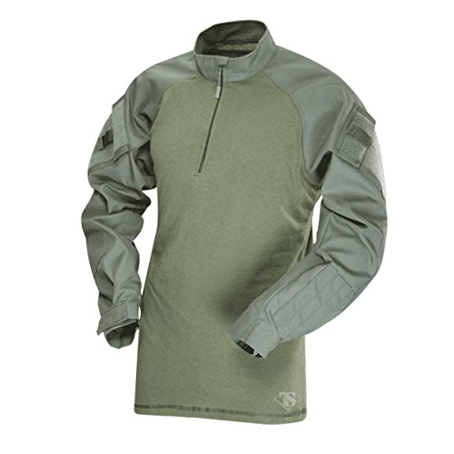 (Tru-Spec 1/4 Zip Tactical Response Combat Shirt 65/35 Polyester/Cotton Rip-Stop, Olive Drab/Olive)