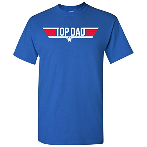(Top Dad - Father's Day, Papa, Pops, Grandfather - Adult Men's Cotton T-Shirt - Large - Royal)