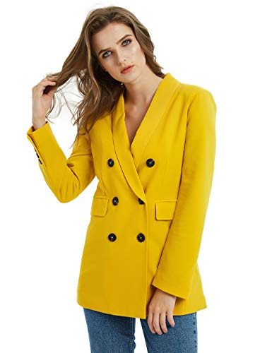 Russel Rainey Solid Color Double Breasted Long Sleeve Suits Blazer Jacket Coats Women Female (Yellow Blazer, L)