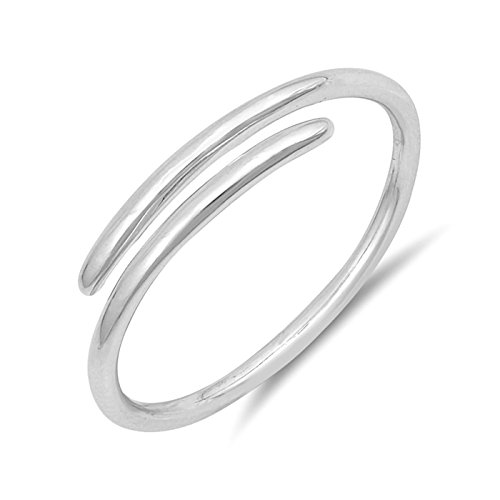 .925 Sterling Silver Simple Plain Minimal Design Open Midi Finger Wire Ring Size 6 by Wedding Season Import