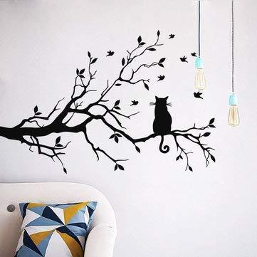 Heylookhere Decoración para el hogar Pegatinas de pared Pegatinas - Lindo gato en rama de árbol