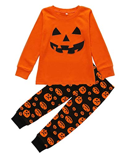 Boys Halloween Pajamas Pumpkin Costume Toddler Cotton Pjs 2 Piece Kids Sleepwear 2T-7T (Style 3, 3-4 Years/4T)