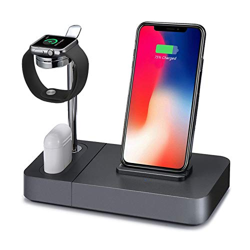 (Wireless Charger Stand Holder, Aluminum Watch Stand 3in1 Charging Dock Station Compatible iPhone X/XS Max/8Plus/Samsung Galaxy S9 Plus, Compatible Apple Watch/Airpods (Include 5V/2A Adapter) )