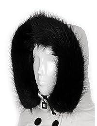 Futrzane Trim Hood Faux Fake Fur Hood Winter for Jacket Ski Collar Wrap Shawl (Black)