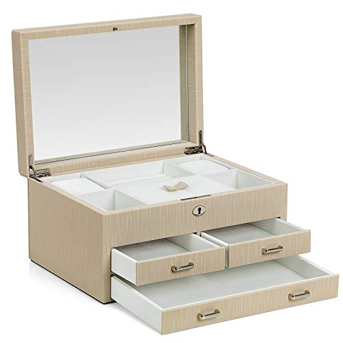 (SONGMICS Box, Lockable Jewelry Organizer, with Full Length Inside Mirror, 3 Drawers, Thickened Frame, Gift for Loved Ones, Beige, UJBC230BE, 11.2''L x 8.1''W x 6.1''H, Pu, White Lining)