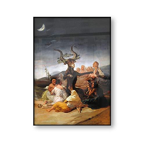 WJWGP Brujas SaBado Francisco Goya Vintage Poster Antiguo Pintura Pared Arte Cuadro Diablo SatanaS Cuernos Cabra Lienzo Imprimir Inicio Decoracion 40x60cm No Marco