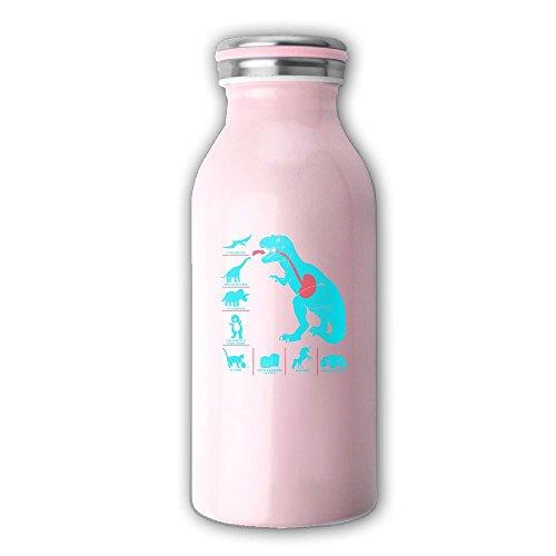 Mint Dinosaur Stainless Steel Vacuum Insulated Water Bottle Leak-proof Double Walled Milk Bottle Cup Drinking Water Bottle 12 OZ, Pink