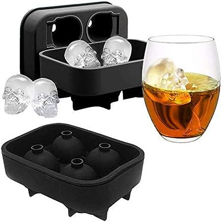 SwirlColor Molde Hielo Calavera 3D Skull Ice Cube Tray Mould Silicone Ice Cube Maker para Whisky Ice y cócteles