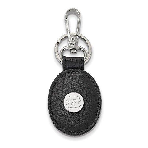 North Carolina Black Leather - Solid 925 Sterling Silver U of North Carolina Black Leather Oval Key Chain