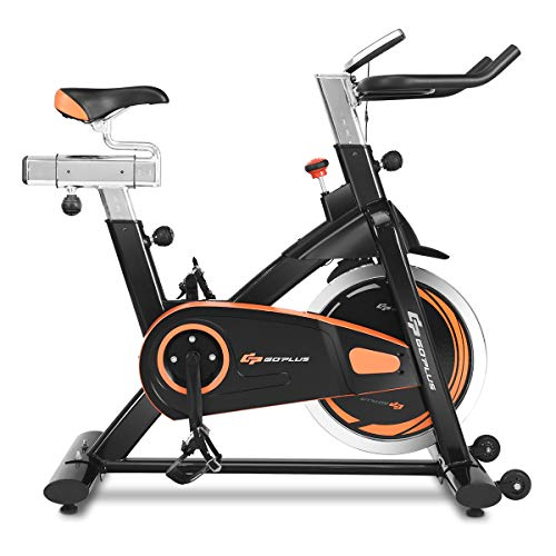 Goplus Indoor Cycling Bike, Stationary Bicycle with Flywheel and LCD Display, Cardio Fitness Cycle Trainer Professional Exercise Bike for Home and Gym Use (30 LBS Flywheel) (The Best Spinning Bikes For Home Use)
