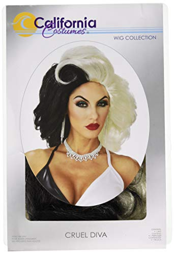 California Costumes Women's Cruel Diva Adult Wig, Black/White, One Size -