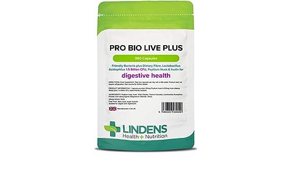 Lindens Probiótico plus fibra dietética) cápsulas 360 PACK UK ...