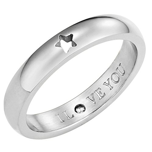 Secret Love Stones Star Ring engraved I Love You with CZ, Silver Tone by Taylor and Vine (Love Vine Ring)