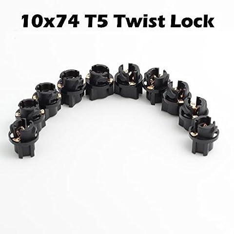 Partsam 10pcs T5 Twist Socket For Instrument Panel Cluster Plug Lamp Dash Light Bulb 58 70 73 74 (Custom Instrument Cluster)